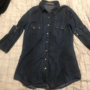 Forever 21 Dark Denim LS Button Down Fitted Shirt